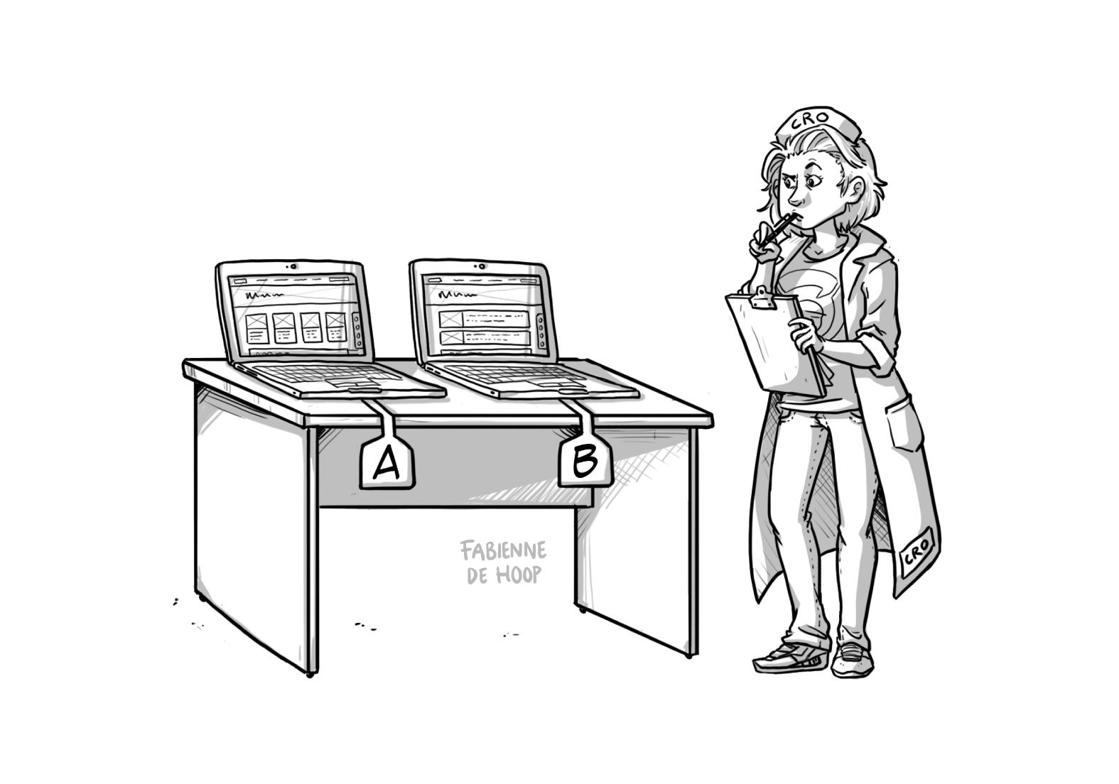 A/B testen uitgebeeld via een cartoon