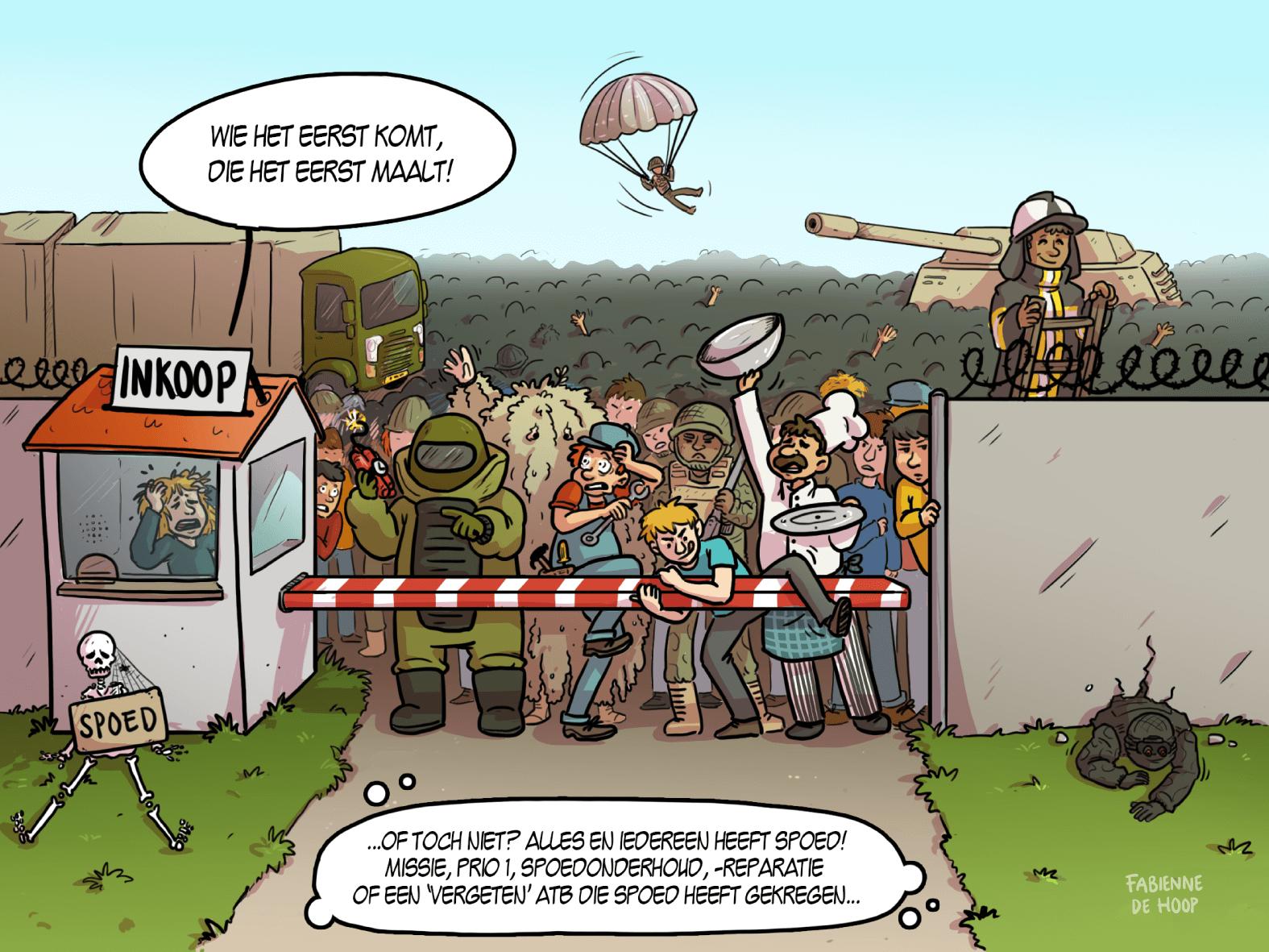 Spoedklussen bij de landmacht als cartoon verbeeld