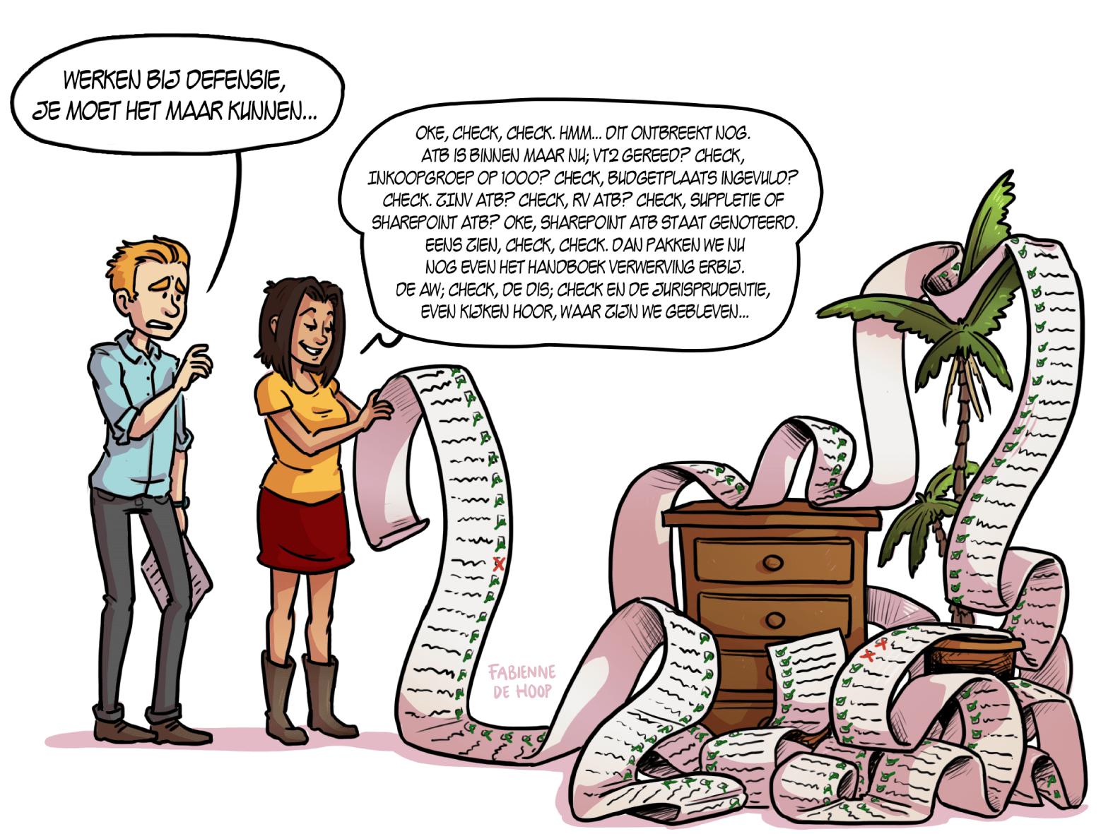 Cartoon over werken bij Defensie