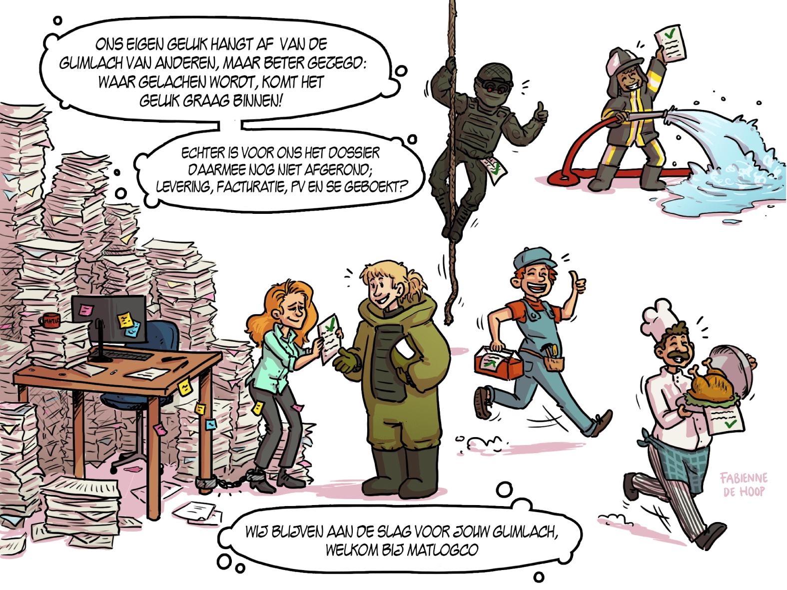 Cartoon voor de inkoopdag van de Landmacht