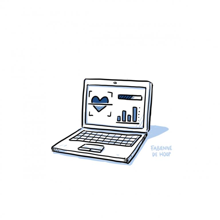 Laptop met statistieken