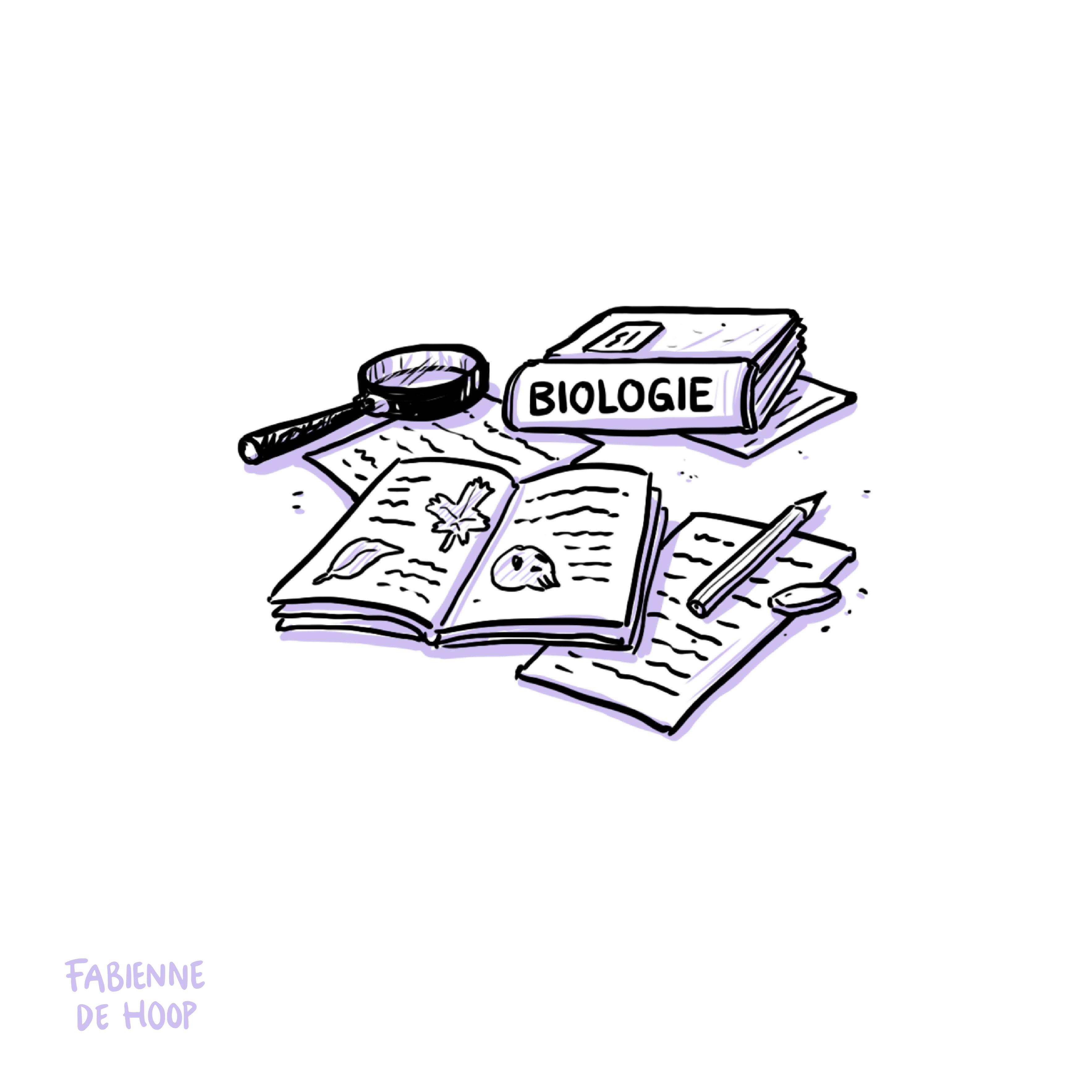 Examengevat illustratie voor biologie met boeken
