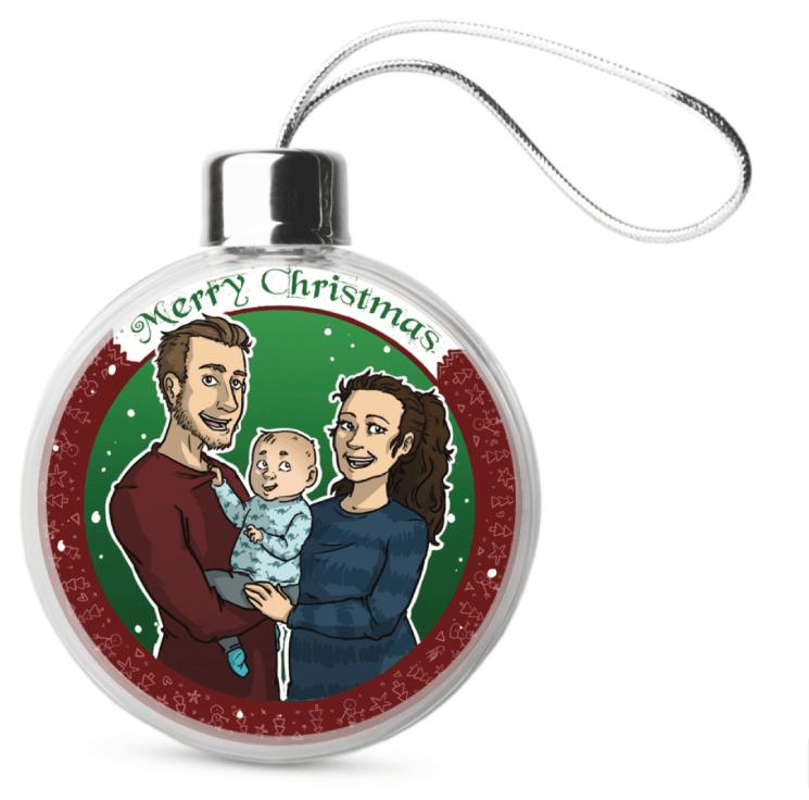 Uniek familie portret in kerstbal