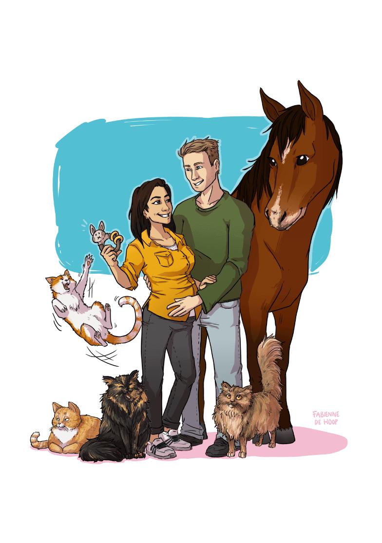Familie portret met huisdieren
