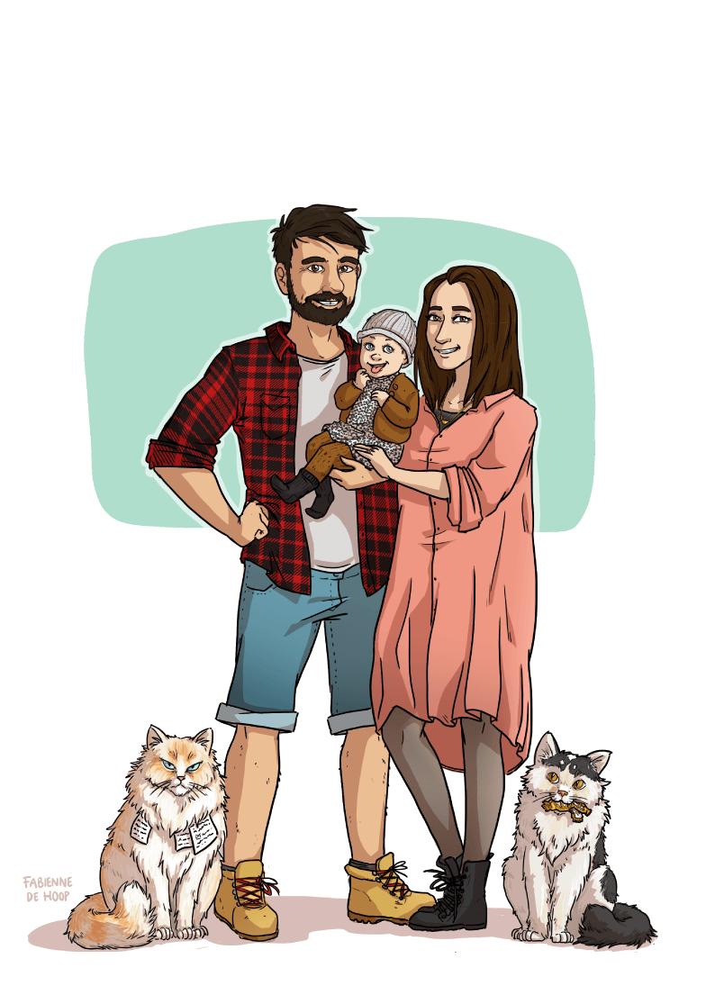 Familie portret met katten