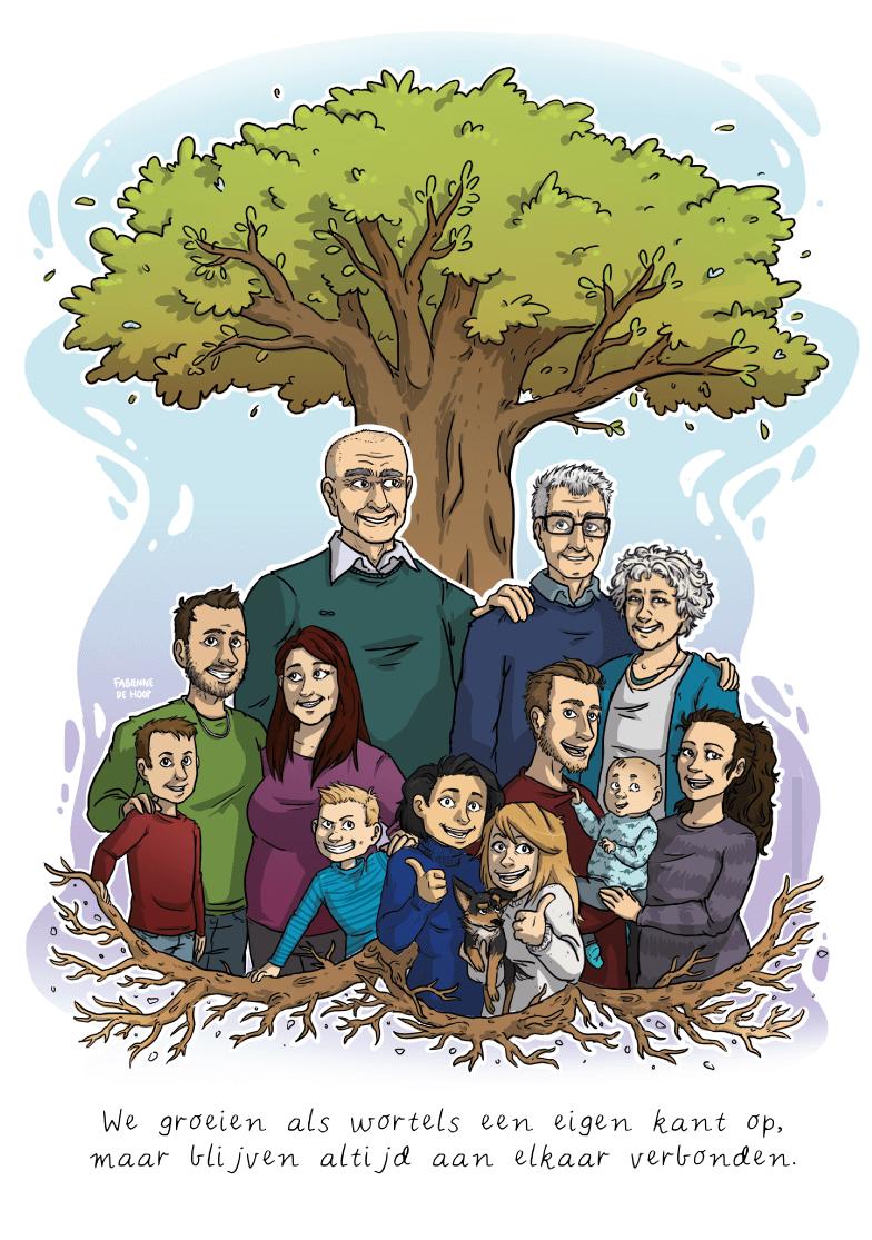 Familie portret van stamboom de hoop