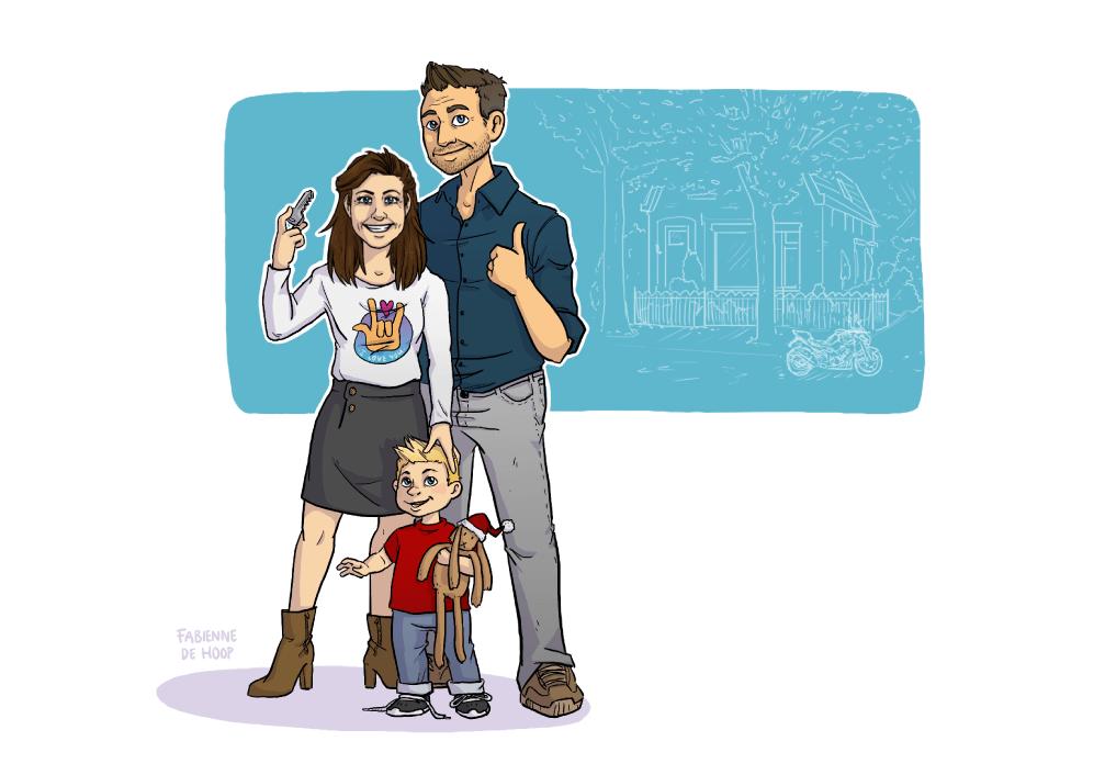Familie portret voor verhuizing