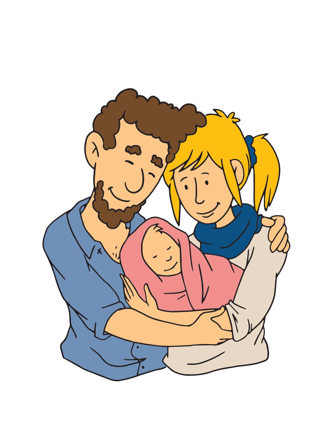 Kraamzorg illustratie van gezin